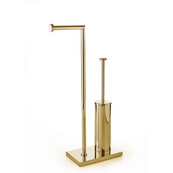 3SC Ribbon Напольная стойка 30х14хh63см, с полотенцедержателем и туалетным ёршиком, цвет: золото 24к. Lucido