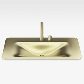 Armani Roca Baia Раковина встраиваемая сверху 90x47см с 2 отв. под смеситель, со скр. переливом, цвет: matt gold