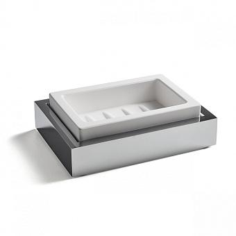 3SC SK 3.0 Мыльница настольная, композит Solid Surface, цвет: цвет: белый/хром
