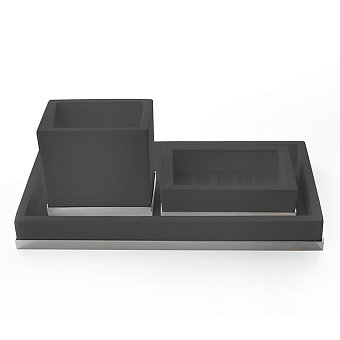3SC Mood Deluxe Комплект: стакан, мыльница, лоток, цвет: чёрный матовый/хром