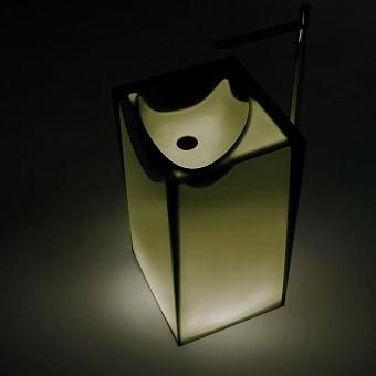 Antonio Lupi Astro Раковина 50х45х85 см, напольная, слив в пол, без отв для смесит, с дон клапаном, сифоном и трубой слива, Cristalmood, цвет: Oleo