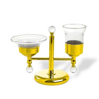 StilHaus Smart light Настольная мыльница + стакан, цвет: золото/стекло