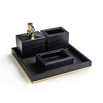3SC Cocco Комплект: стакан, дозатор, мыльница, лоток, отделка: черная кожа, цвет: золото 24к. Lucido
