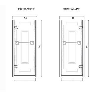 Душевая дверь Gentry Home Athena 70х190 см (открытие слевасправа), прозрачное, закаленное стекло 8 мм с греческим матовым декором, ручка и профиль - хром