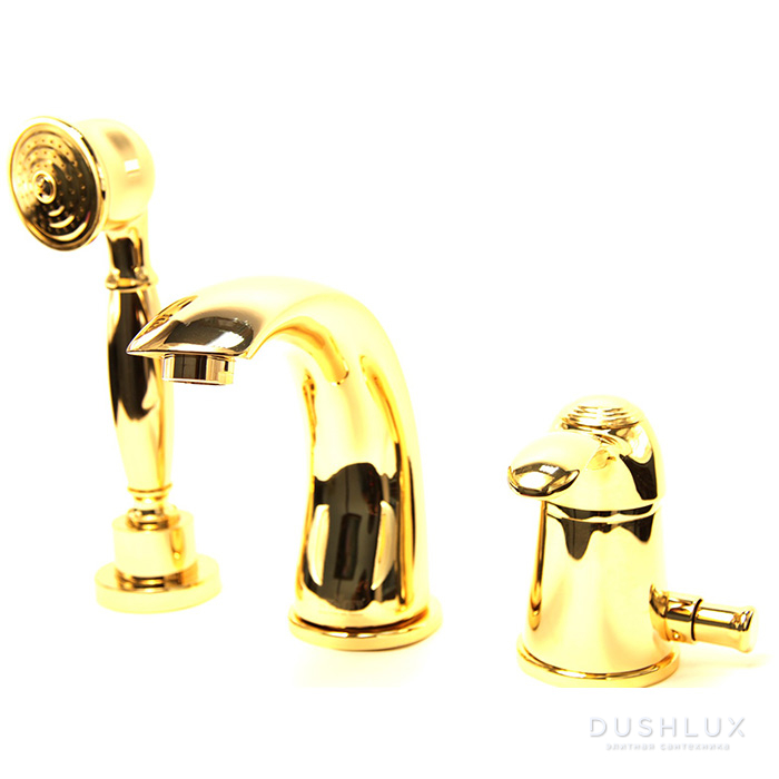Webert Aurora Смеситель на борт ванны, на 3 отв., с ручным душем, цвет: золото