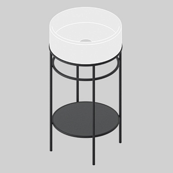 Artceram Vogue Металическая структура Ø44хh72,5см с раковиной Atelier без отв. под смеситель, с черной керамической полкой, цвет: черный матовый