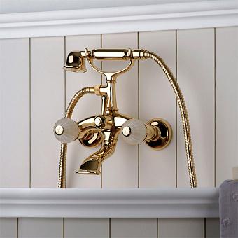 Bongio Rivoli Смеситель для ванны настенный  с ручным душем, цвет золото/cristallo 00