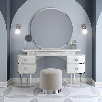 Devon&Devon Zelda Комплект мебели с тумбой напольной 155х45х183 см, столешницей Bianco, круглым пуфом, ножки хром, цвет белый+зеркало круглое, цвет: белый