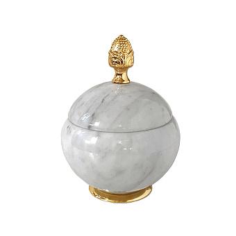 3SC Elegance Баночка универсальная, D=15/h18 см, с крышкой, настольная, цвет: мрамор bianco carrara/золото 24к. Lucido
