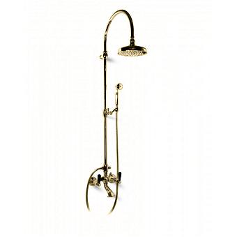 Bongio Mille Nuits Душевая стойка со смесителем для ванны, цвет: золото/черный фарфор