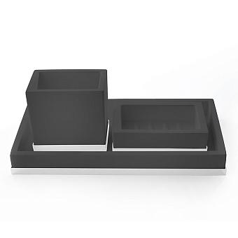 3SC Mood Deluxe Комплект: стакан, мыльница, лоток, цвет: чёрный матовый/белый матовый