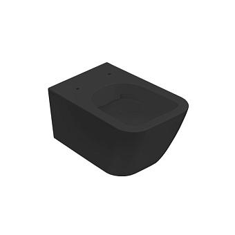 Globo Stone Унитаз подвесной безободковый 52х36 см, с системой скрытого крепежа, цвет: черный матовый