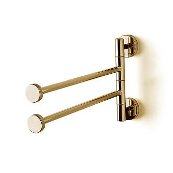 3SC Ribbon Полотенцедержатель двойной, поворотный, плечо 35см, цвет: золото 24к. Lucido
