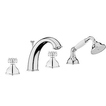 Смеситель на борт ванны Webert Ottocento OT730101 Хром/белый