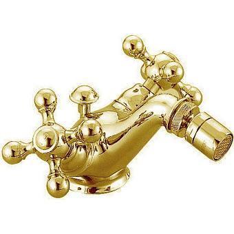 CISAL Arcana Ceramic Смеситель двухвентильный для биде на 1 отверстие с донным клапаном, цвет золото