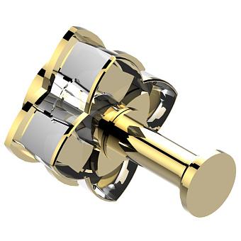 THG Pétale de cristal clair liseré doré Крючок, длинный, подвесной, цвет: золото/прозрачный хрусталь с золотым декором