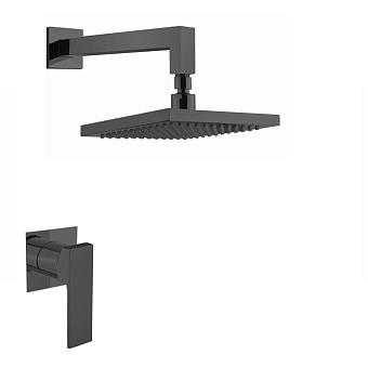 Webert Pegaso Набор для душа (смеситель для душа, верхний душ 20x20cм), цвет: черный матовый