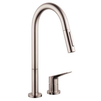 Axor Citterio M Смеситель для кухни, однорычажный, на 2 отв, с выдвижным душем, излив: 221мм, цвет: сталь