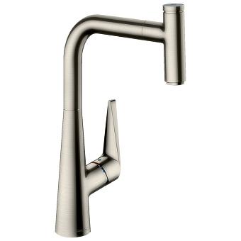Hansgrohe Kitchen M5115-H300 Кухонный смеситель, однорычажный, с вытяжным изливом, сталь