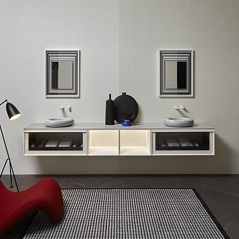 Antonio Lupi Bemade Комплект подвесной мебели с тумбами и базой под раковину, раковиной Gessati, зеркалом, 90 см, цвет: белый goffratto