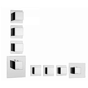 Bossini Cube Термостат для душа, встраиваемый, с девиаторм/запорным вентилем на 3 - 6 выходов, уст-ка верт/гор., цвет: хром