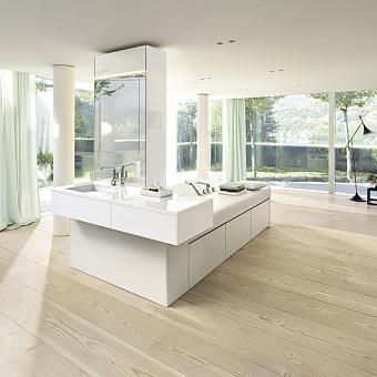 BURGBAD RC40 Композиция №2 155х260х220см, ванна со сливом-переливом, 3 ящика, подушка из белой искусств кожи, раков с 1 ящиком, зерк шкаф, цвет: белый