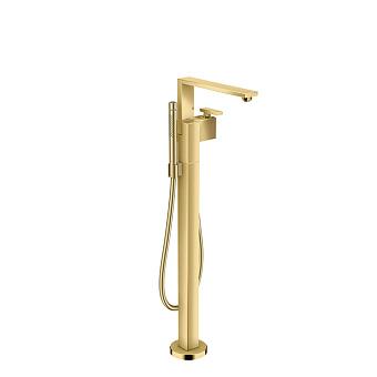 Axor Edge Смеситель для ванны, напольный, с ручным душем, излив 255мм, алмазная огранка, цвет: золото