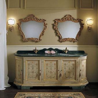 Mobili Di Castello Patmos Комплект мебели 80х205х60 см: напольная тумба, мраморная столешница, 2 керамические раковины, 2 резных зеркала, мрамор Verde guatemala/декор Rinascimento