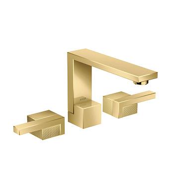 Axor Edge Смеситель для раковины, на 3 отв., с донным клапаном push/open, излив 173мм, алмазная огранка, цвет: золото