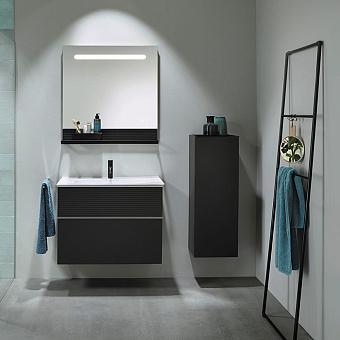 Burgbad Fiumo Комплект подвесной мебели 82х49х61см, с раковиной на 1 отв., ручки белые матовые, цвет: Graphit Softmatt