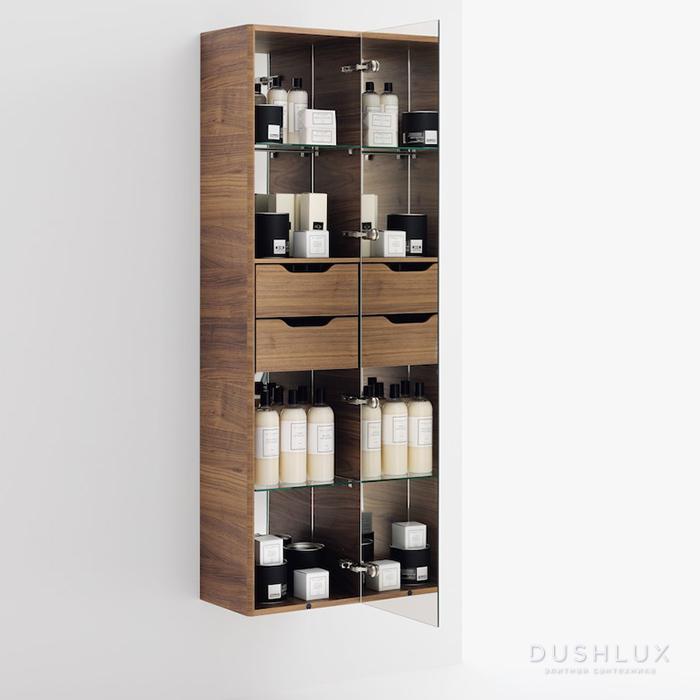 Laufen Alessi One Шкаф подвесной, 400х300х1700мм, с 1 зер дверцей, подсветка, 2 полки, 2 ящика, DX, цвет: орех