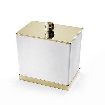 3SC Mood Deluxe Баночка универсальная, 10х10х7 см, с крышкой, настольная, композит Solid Surface, цвет: белый матовый/золото 24к. Lucido