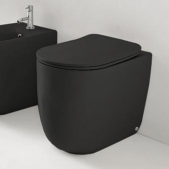 Kerasan Nolita Унитаз безободковый пристенный 55х35 см, с креплениями WB5N, цвет черный матовый