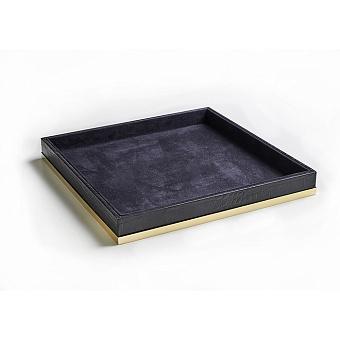 3SC Cocco Лоток универсальный, 28х28см, отделка: черная кожа, цвет: золото 24к. Lucido