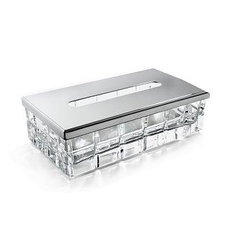 3SC Palace Контейнер для бумажных салфеток, 23х12,5хh12 см, прямоугольный, настольный, цвет: прозрачный хрусталь/хром