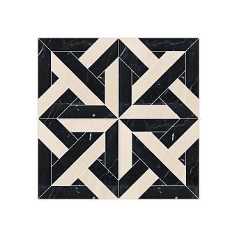 Devon&Devon Elite Плитка из натурального камня 60x60см, универсальная, мрамор, elite 10, цвет: black marquinha/crema marfil