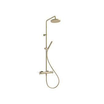 Cristina Cross Road Душевой комплект: смеситель термостатический, стойка с верхним душем, ручной душ, гибкий шланг, цвет: золото
