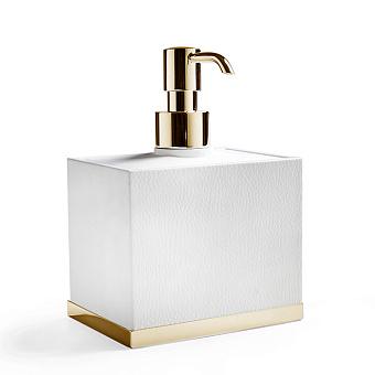 3SC Snowy Дозатор для жидкого мыла, настольный, цвет: белая эко-кожа/золото 24к. Lucido