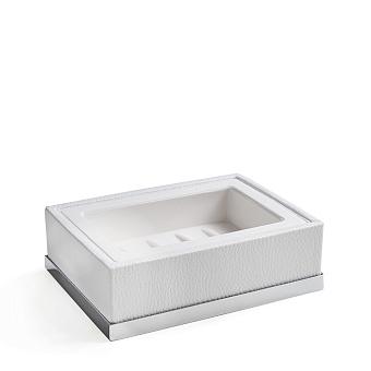 3SC Snowy Мыльница настольная, цвет: белая эко-кожа/хром
