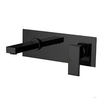 Gattoni Kubik Смеситель для раковины, встраиваемый, с коробкой, горизонтальный, излив 190мм, цвет: Nero Opaco