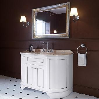 TW York Nuovo Комплект мебели с мраморной столешницей с 3 отв. и зеркалом, 130см, Цвет базы: bianco/argento, мрамор: diano