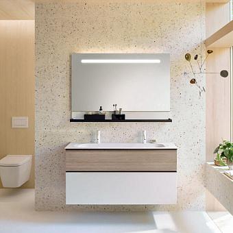 Burgbad Fiumo Комплект подвесной мебели 122х49х61см, с раковиной на 2 отв., ручки черные матовые, цвет: Eiche Dekor Cashmere / белый матовый
