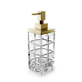 3SC Palace Дозатор для жидкого мыла,  настольный, цвет: прозрачный хрусталь/золото 24к. Lucido