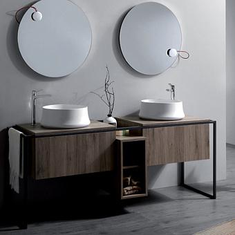 SIMAS Frame Комплект мебели с 2 ящиками и открытым элементом, 181x57xh72см, Цвет: темный дуб