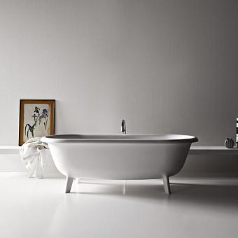 Agape Ottocento Small Ванна отдельностоящая 155x77.5x58 см, слив-перелив полированный хром, цвет: белый