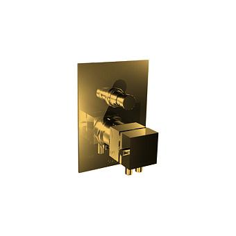 Bongio Domino Q Встраиваемый термостат для душа, на 2 источника, внутренняя+внешняя часть, цвет: золото