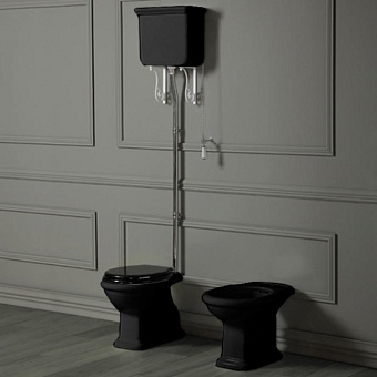 SIMAS Lante Унитаз напольный, выпуск в стену, 38,5х58см, цвет черный с высоким бачком, с фурнитурой цвета хром