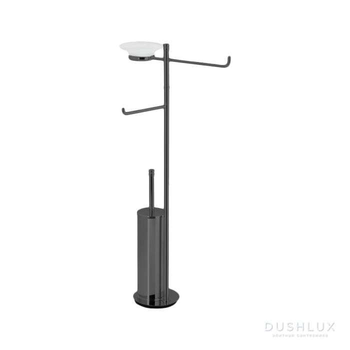 StilHaus Hashi Стойка с мыльницей, полотенцедержателем, держателем для туалетной бумаги и ершиком металлическим, напольная, цвет: чёрный матовый