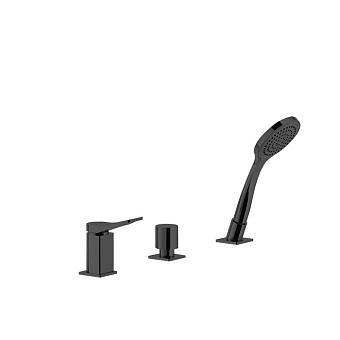 Gessi Rilievo Смеситель на борт ванны на 3 отв, с убирающаяся душевой лейкой, для наполнения через слив-перелив, цвет: nero XL