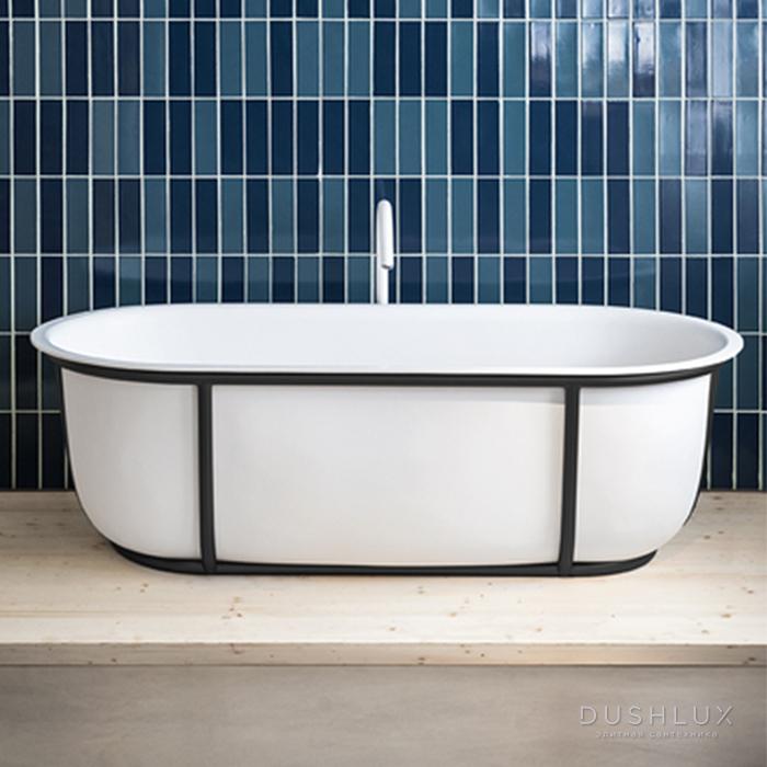Agape Cuna Ванна отдельностоящая 165x78.5x52 см, с черной металлической структурой, цвет: белый
